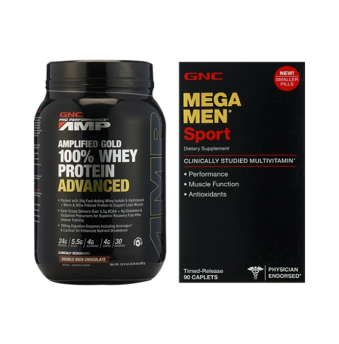 GNC Amp Gold 100% Whey Protein Advanced Chocolate Powder with Mega Men Sports Caplets