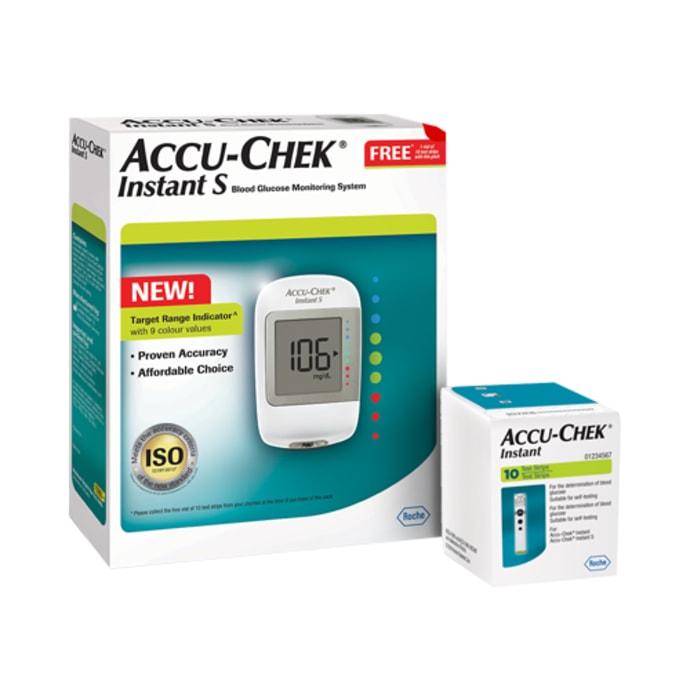 New Accu-Chek Instant S Blood Glucometer with 10 Test Strip Free