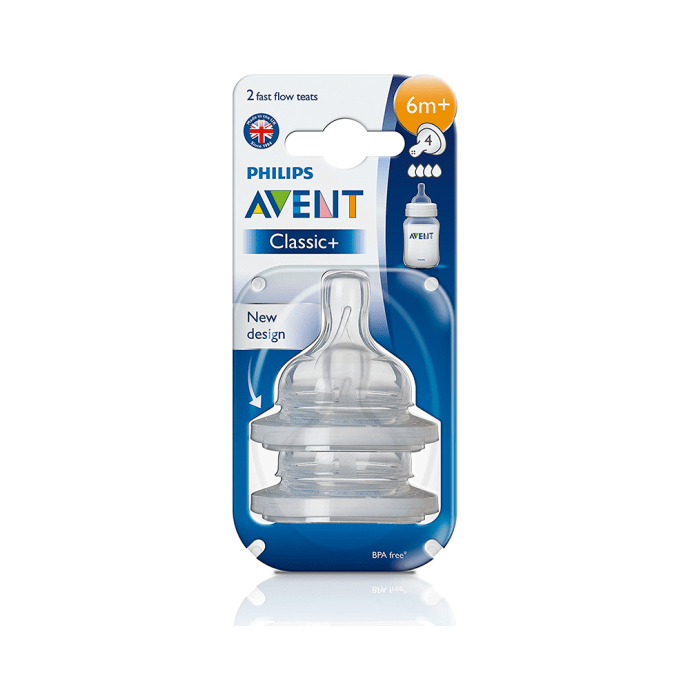 Philips Avent Classic Teat Fast Flow Nipple 4 Holes 6 Months+