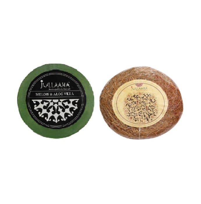 Jullaaha Combo Pack of Melon & Aloe Vera Bathing Bar + Vetiver Bath Scrub