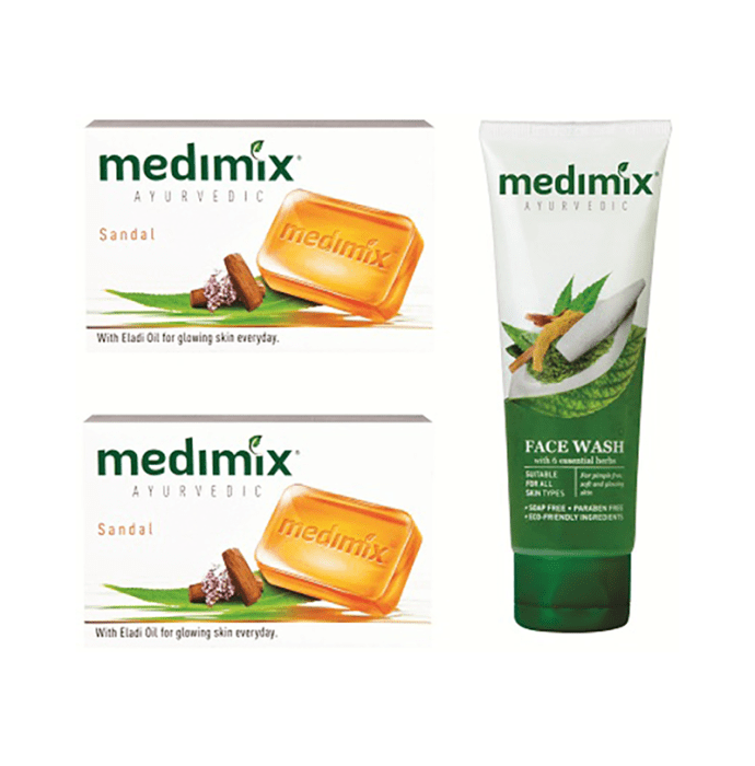 Medimix Ayurvedic Combo Pack of Sandal Soap 125gm (Pack of 2) + Face Wash 100ml