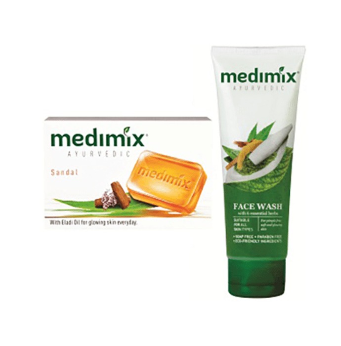 Medimix Ayurvedic Combo Pack of Sandal Soap 75gm (Pack of 4) + Face Wash 100ml