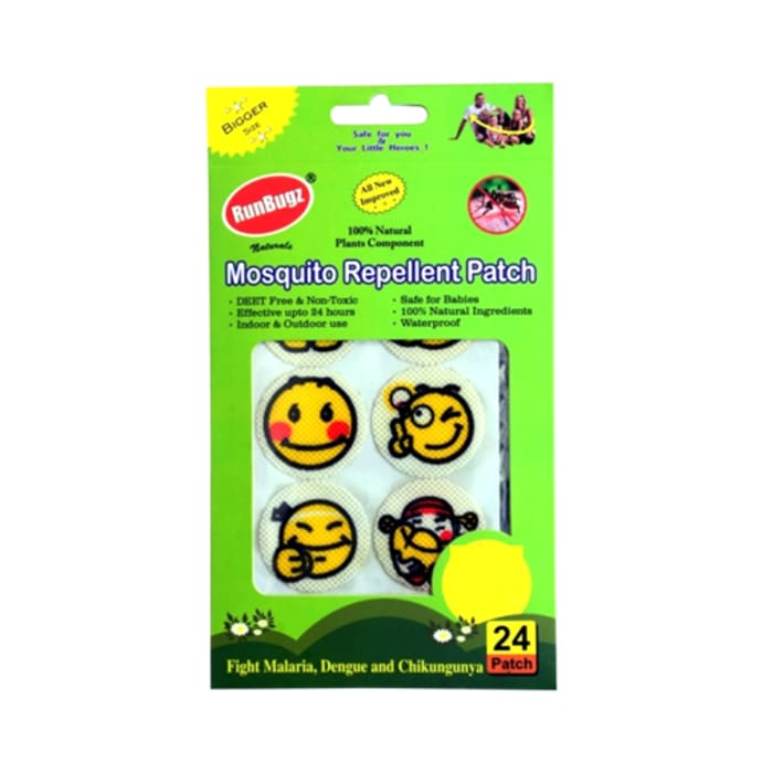 Runbugz Mosquito Repellent Printed Patches-New Smiley