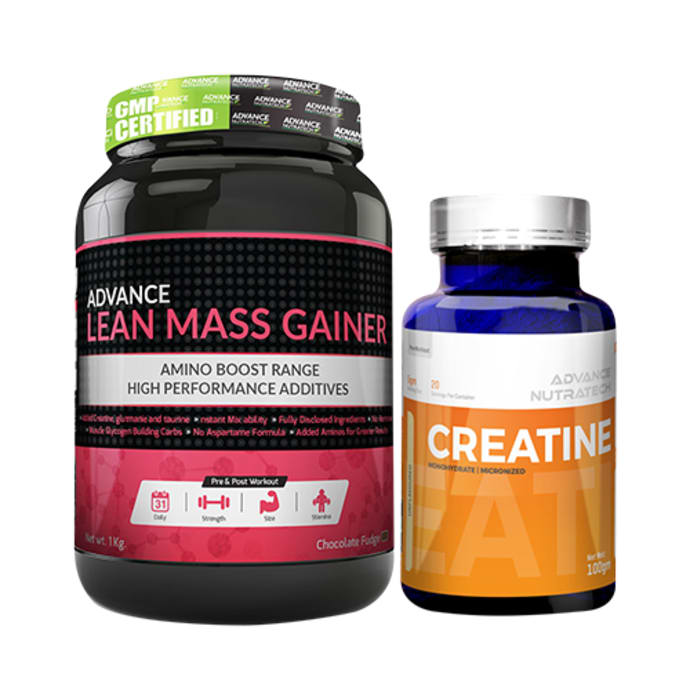 Advance Nutratech Combo of Lean Mass Gainer Chocolate 1kg and Creatine Monohydrate Unflavored 100gm