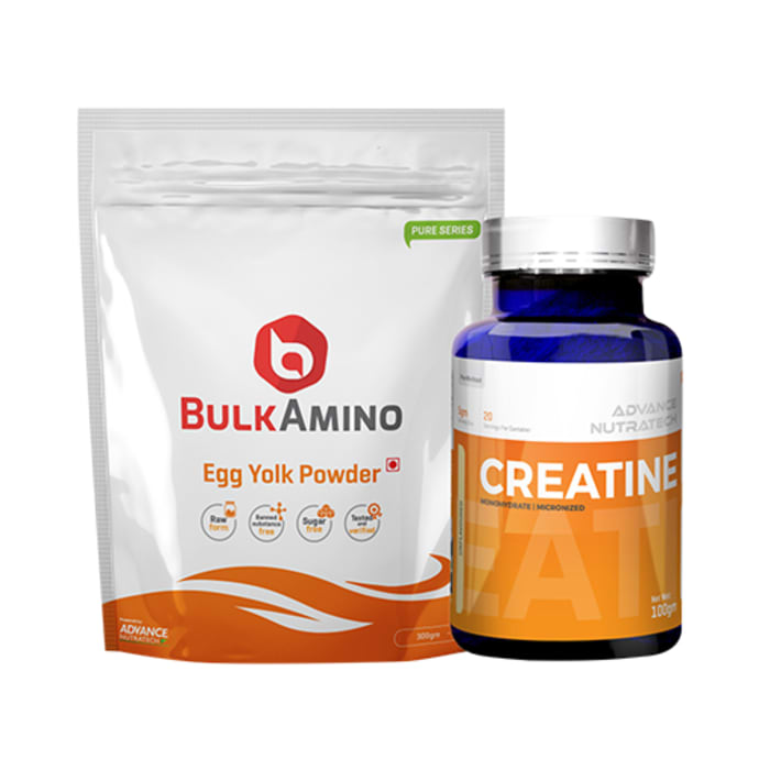 Advance Nutratech Combo of BulkAmino Egg Yolk Powder 300gm Unflavored and Creatine Monohydrate Unflavored 100gm