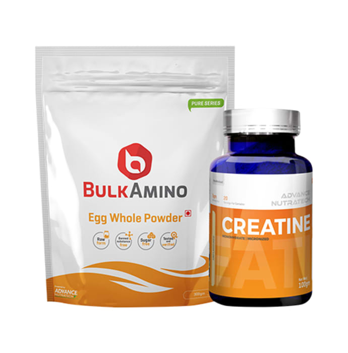 Advance Nutratech Combo of BulkAmino Egg Whole Powder Unflavoured 300gm and Creatine Monohydrate Unflavored 100gm