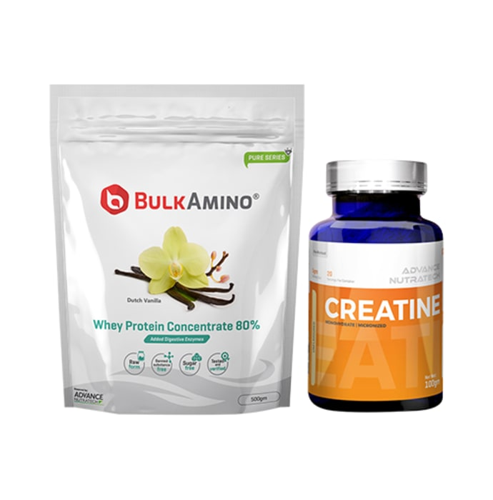 Advance Nutratech Combo of BulkAmino Whey Protein Concentrate 80% Dutch Vanilla 500gm Powder and Creatine Monohydrate Unflavored 100gm