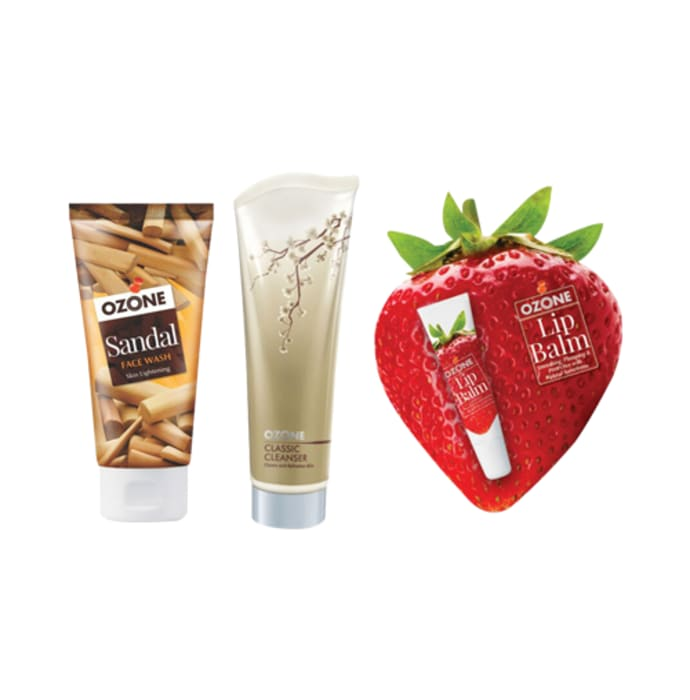 Ozone Combo Pack of Sandal Face Wash, Classic Cleanser and Strawberry Lip Balm