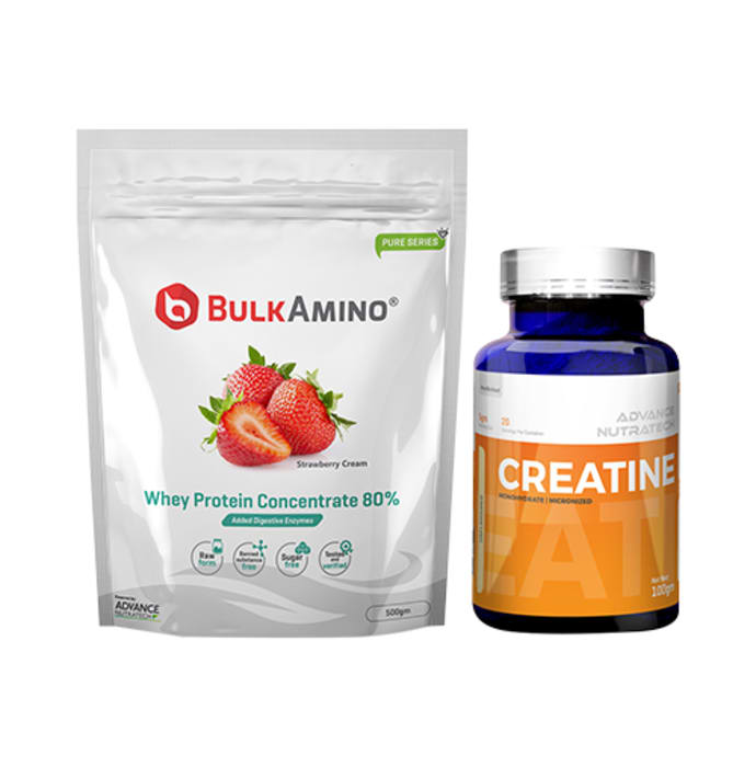 Advance Nutratech Combo of BulkAmino Whey Protein Concentrate 80% Strawberry Cream 500gm Supplement Powder and Creatine Monohydrate Unflavored 100gm