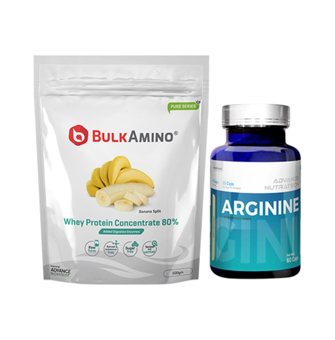 Advance Nutratech Combo of BulkAmino Whey Protein Concentrate 80% Banana Split  500gm Supplement Powder and Arginine Aminos Pre-Workout 60 Capsules