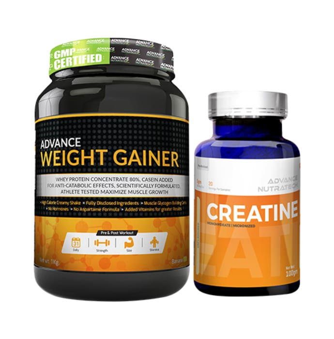 Advance Nutratech Combo Pack of Weight Gainer Banana 1kg Sugar Free & Creatine Monohydrate Unflavored 100gm