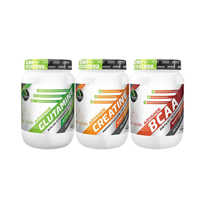 Advance Nutratech Combo Pack of Creatine 300gm, Glutamine 300gm & BCAA 200gm (Each Unflavored)