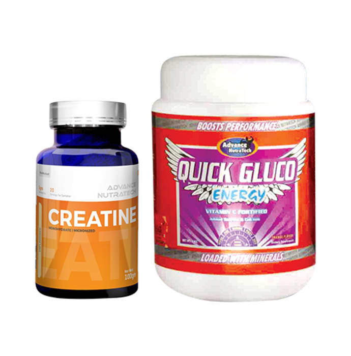 Advance Nutratech Combo of Creatine Monohydrate Unflavored 100gm and Quick Gluco Energy 1kg Orange