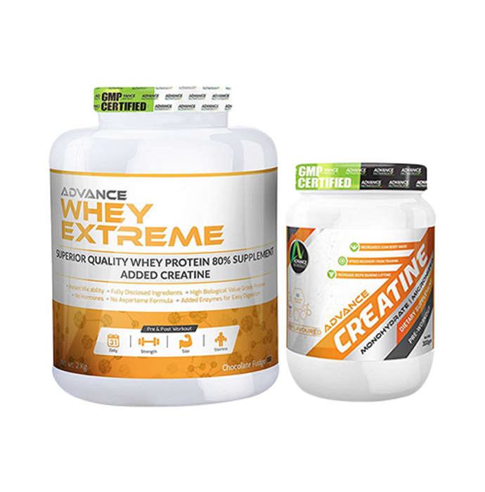 Advance Nutratech Combo of Whey Extreme Protein Chocolate 2kg and Creatine Unflavored 300gm