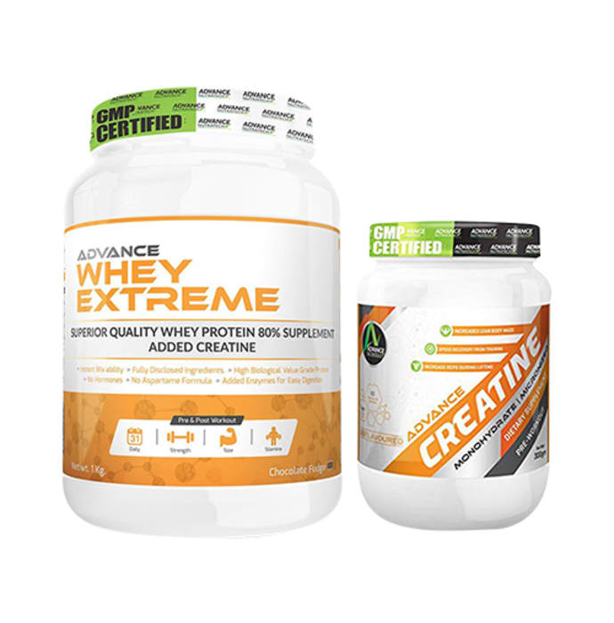 Advance Nutratech Combo Pack of Whey Extreme Protein Chocolate 1kg and Advance Creatine Unflavored 300gm