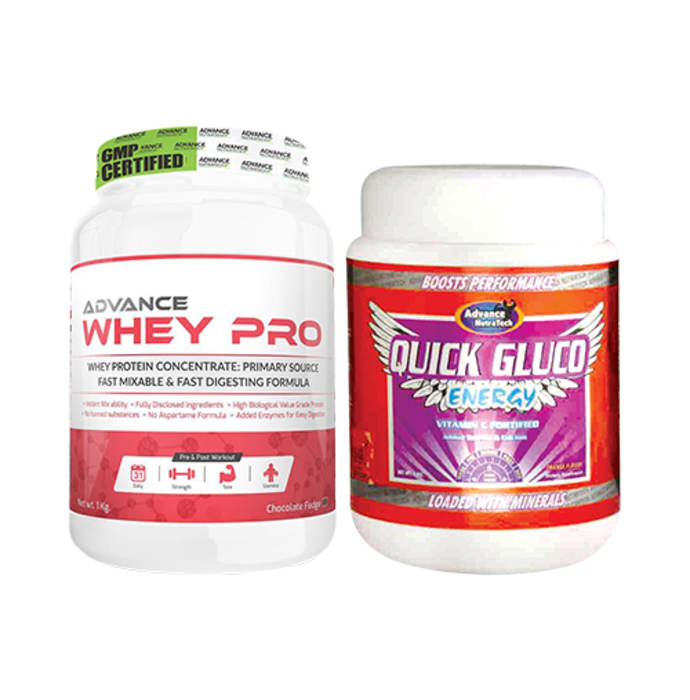 Advance Nutratech Combo of Whey Pro Protein Powder Chocolate 1kg and Quick Gluco Energy Orange 1kg