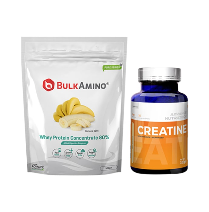 Advance Nutratech Combo of BulkAmino Whey Protein Concentrate 80% Banana Spilt 500gm Supplement Powder and Creatine Monohydrate Unflavored 100gm