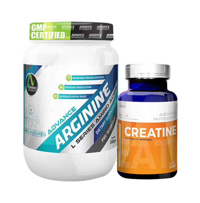 Advance Nutratech Combo of Arginine Aminos Pre-Workout 200gm Unflavoured Raw Powder and Creatine Monohydrate Unflavored 100gm