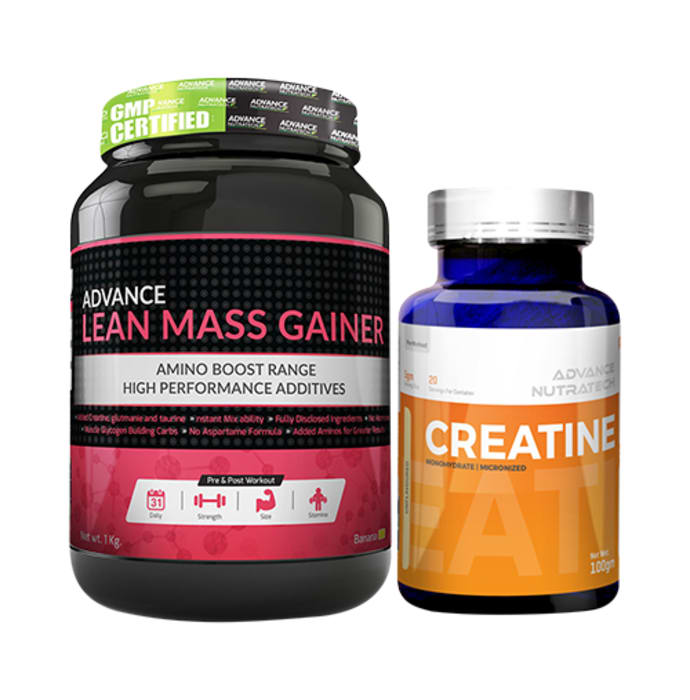 Advance Nutratech Combo of Lean Mass Gainer Banana 1kg and Creatine Monohydrate Unflavored 100gm