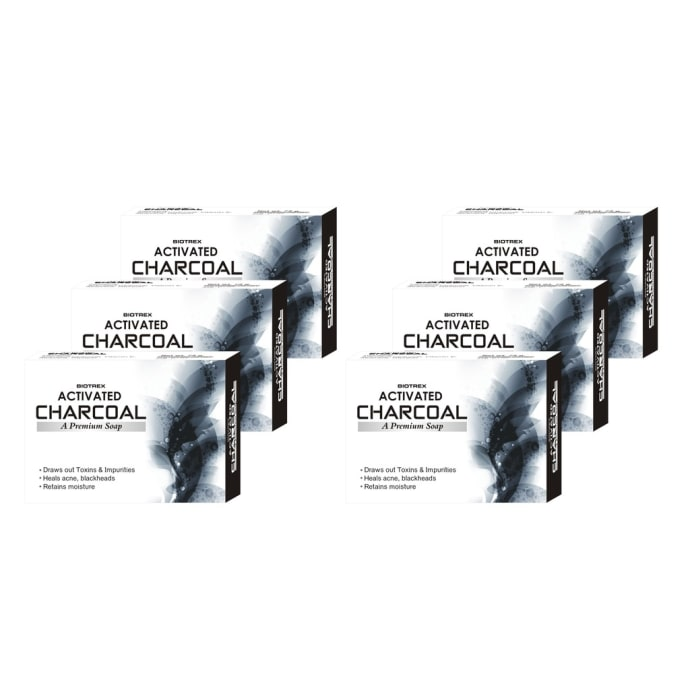 Biotrex Activated Charcoal - A Premium Soap Pack of 6