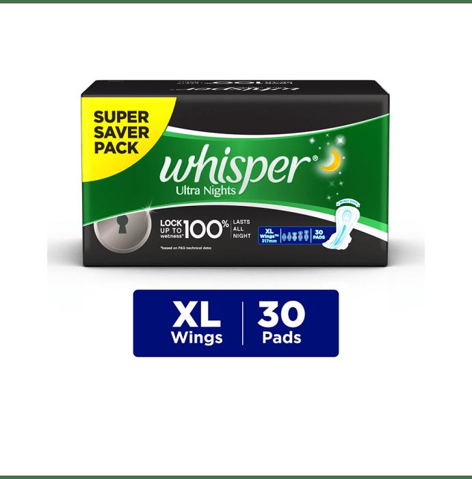 Whisper Ultra Nights Wings Sanitary Pads XL