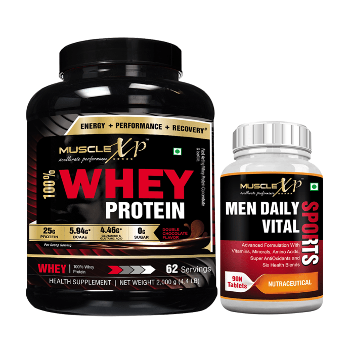 MuscleXP 100% Whey Protein  2Kg, Double Chocolate with Men Daily Vital Sports Multivitamin 90 Tablets