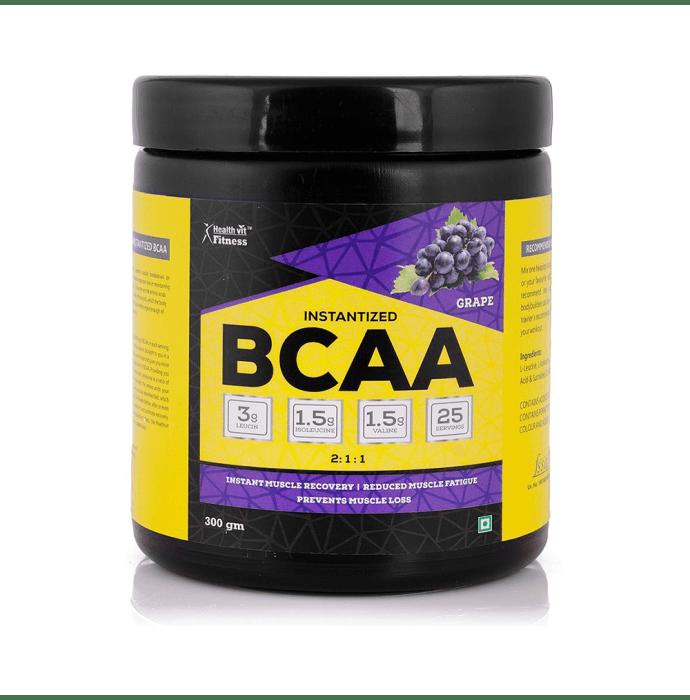 HealthVit Fitness BCAA 6000mg 2:1:1 with L-Glutamine & L-Citrulline Malate Powder Grape