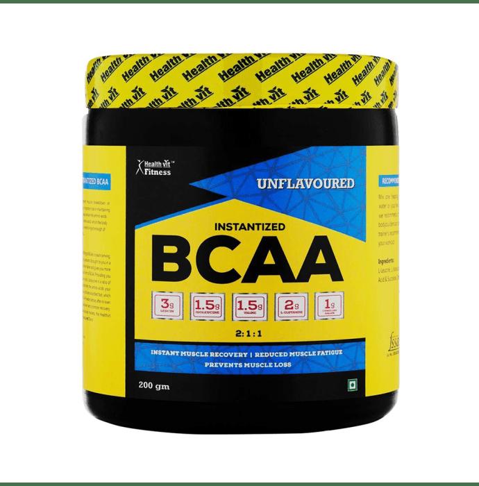 HealthVit Fitness BCAA 6000mg 2:1:1 with L-Glutamine & L-Citrulline Malate Powder Unflavoured