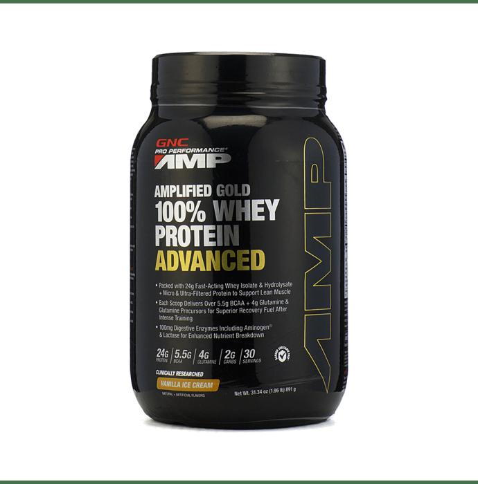 GNC Pro Performance AMP Amplified Gold 100% Whey Protein Advanced Powder Vanilla Icecream