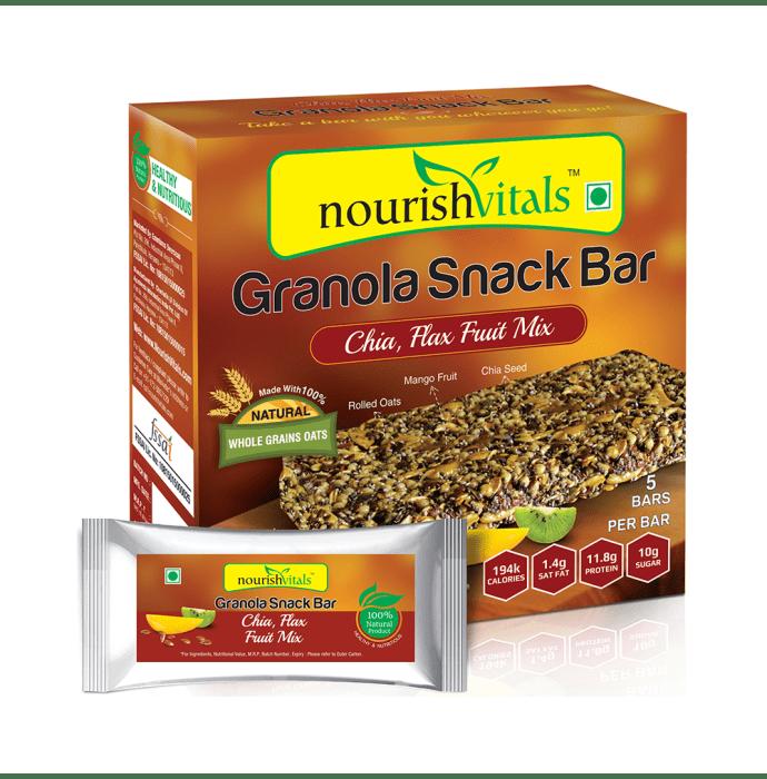NourishVitals Granola Snack Bar with Chia Flax Fruit Mix