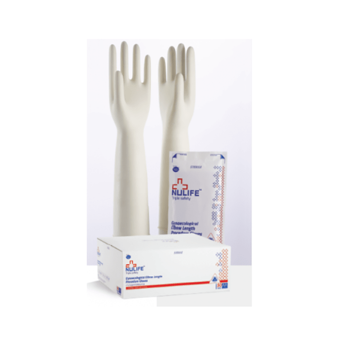 Nulife Gynaecological Elbow Length Surgical Gloves Sterile Powdered M