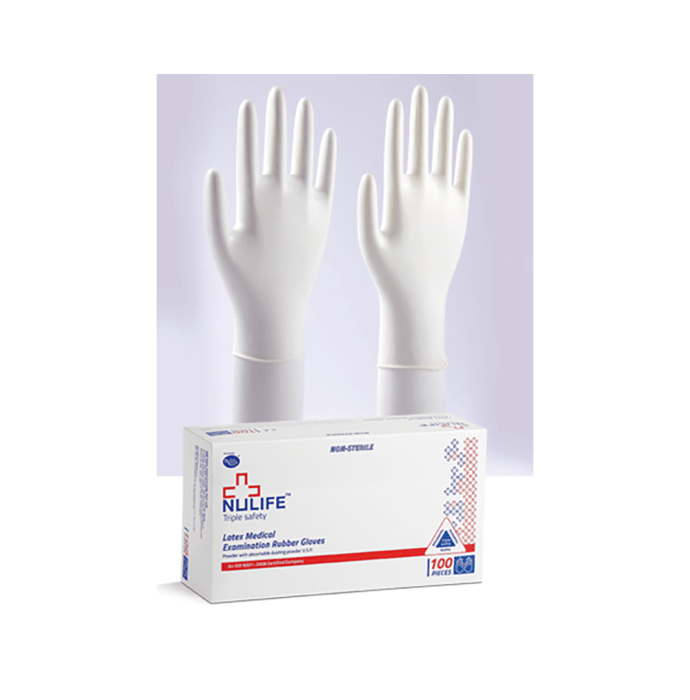 Nulife Latex Medical Examination Powdered Gloves L