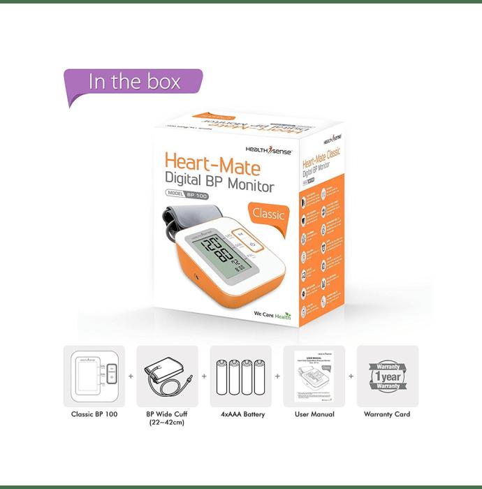 Health Sense Heart Mate Classic BP 100 Digital BP Monitor White