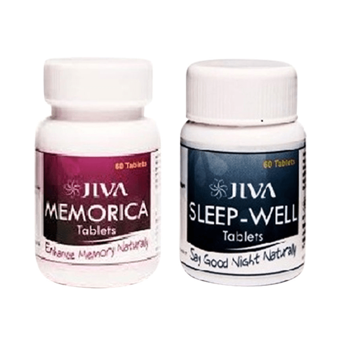 Jiva Memorika Tablet-60 with Sleep-Well Tablet-60 Pack of 2