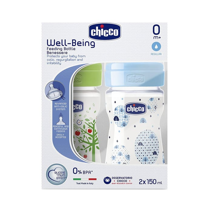 Chicco Bipack WellBeing Feeding Bottle Blue and Green