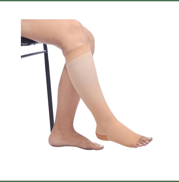 Comprezon Classic Varicose Vein Stockings Class 2 Below Knee (1 Pair) L Beige