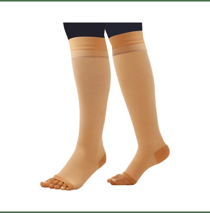 Comprezon Cotton Varicose Vein Stockings Class 1 Below Knee (1 Pair) L Beige