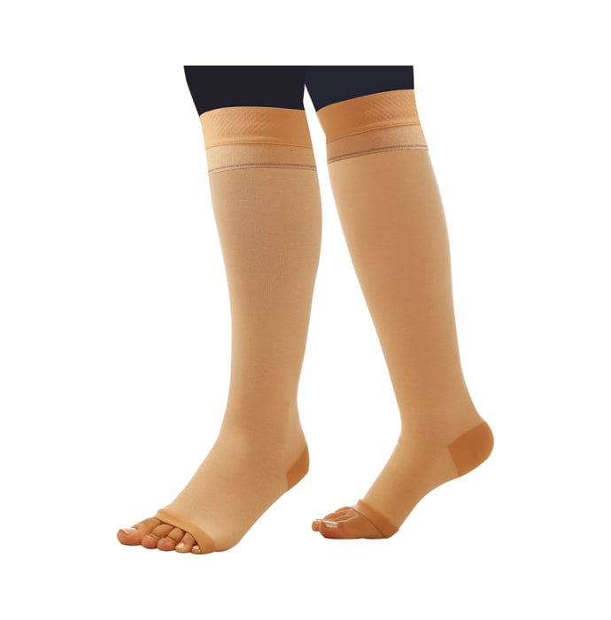 Comprezon Cotton Varicose Vein Stockings Class 1 Below Knee (1 Pair) M Beige