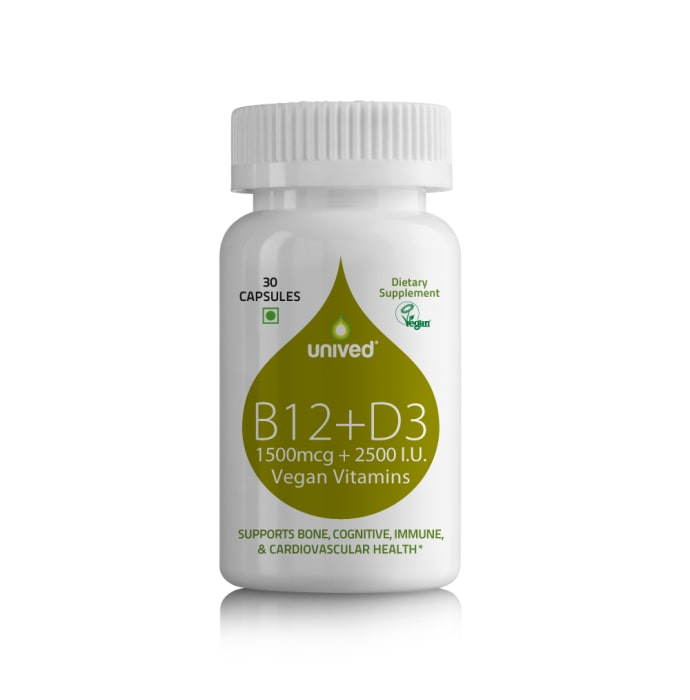 Unived B12+D3, 1500mcg Methylcobalamin (99%), with 500mcg Methyltetrahydrofolate (5-MTHF), 2500 I.U Vegan Capsule