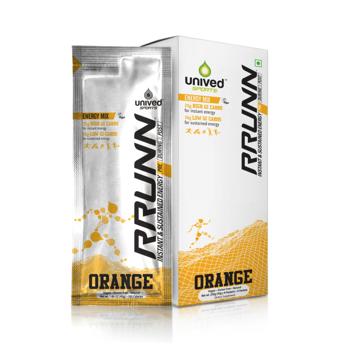 Unived Pre Energy Sports Drink Mix, Instant & Sustained Energy 48gm Sachet Orange