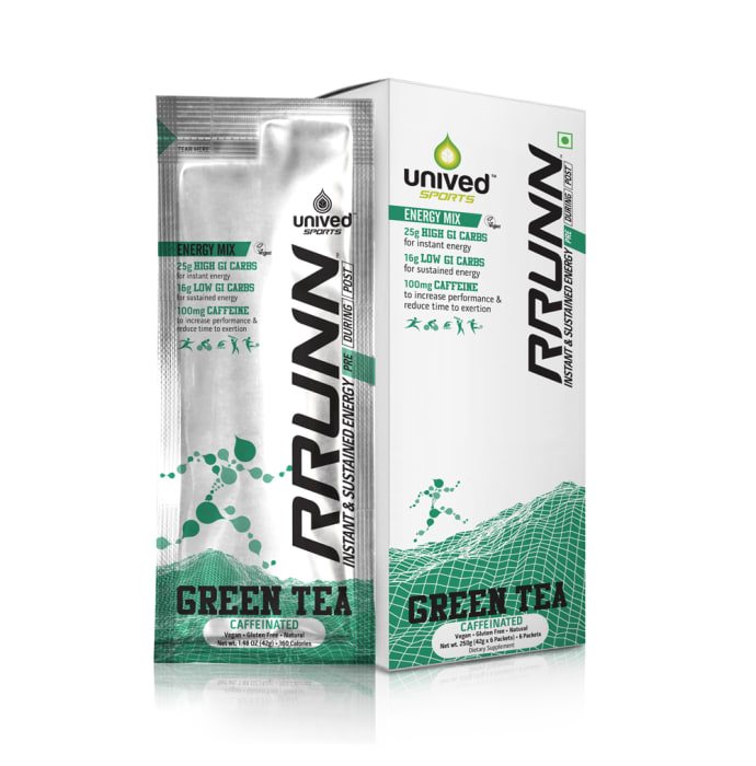 Unived Rrunn Pre Energy Sports Drink Mix Caffeinated 42gm Sachet Green Tea