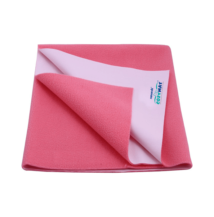 Newnik Cozymat, Dry Sheet, Waterproof, Reusable Mat / Underpad / Absorbent Sheet / Mattress Protector (Size: 140cm X 100cm) Large Salmon Rose
