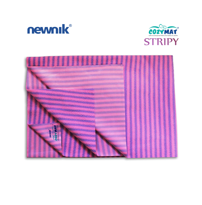 Newnik Cozymat Stripy Soft (Narrow Stripes), Waterproof, Reusable Mat / Underpad / Absorbent Sheet / Mattress Protector (Size: 100cm X 140cm) Large Lavender