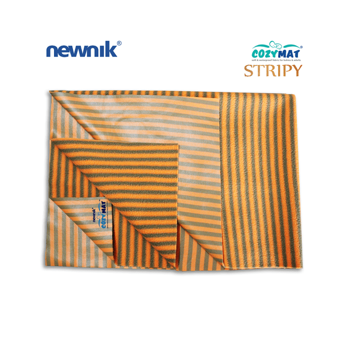 Newnik Cozymat Stripy Soft (Narrow Stripes), Waterproof, Reusable Mat / Underpad / Absorbent Sheet / Mattress Protector (Size: 140cm X 200cm) Extra Large Butterscotch