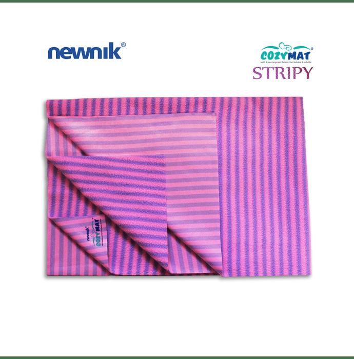 Newnik Cozymat Stripy Soft (Narrow Stripes), Waterproof, Reusable Mat / Underpad / Absorbent Sheet / Mattress Protector (Size: 140cm X 200cm) Extra Large Lavender