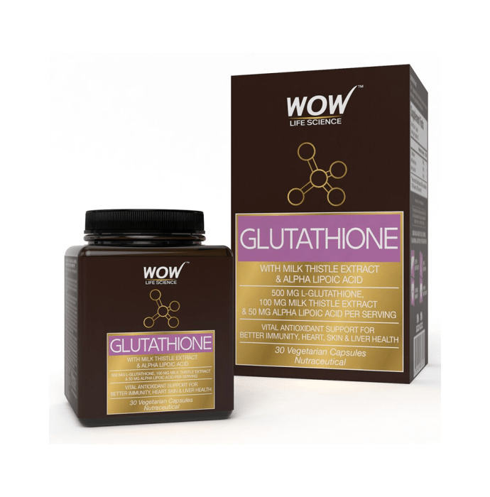WOW Life Science Glutathione with Milk Thistle Extract & Alpha Lipoic Acid Vegetarian Capsule