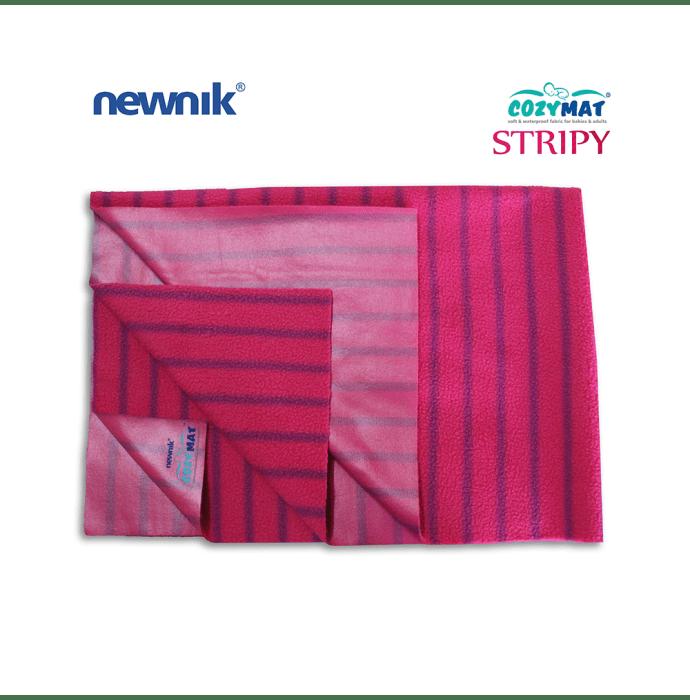 Newnik Cozymat Stripy Soft (Broad Stripes), Waterproof, Reusable Mat / Underpad / Absorbent Sheet / Mattress Protector (Size: 140cm X 200cm) Extra Large Ruby