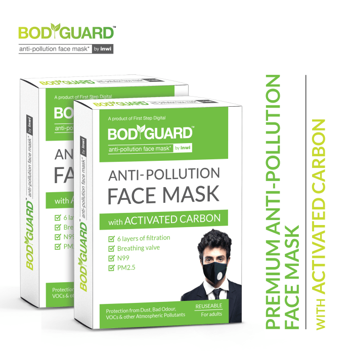 Bodyguard Anti Pollution Mask with Activated Carbon, N99 + PM2.5 Pack of 2
