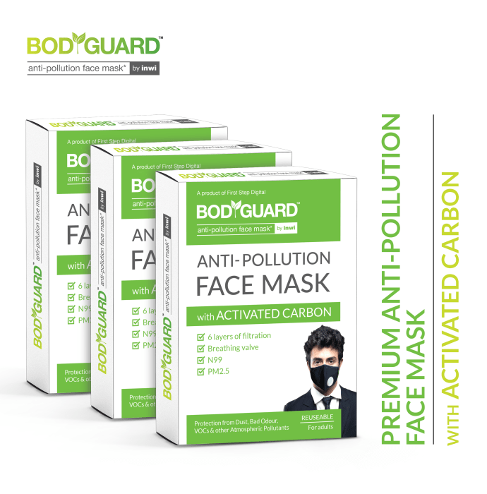Bodyguard Anti Pollution Mask with Activated Carbon, N99 + PM2.5 Pack of 3