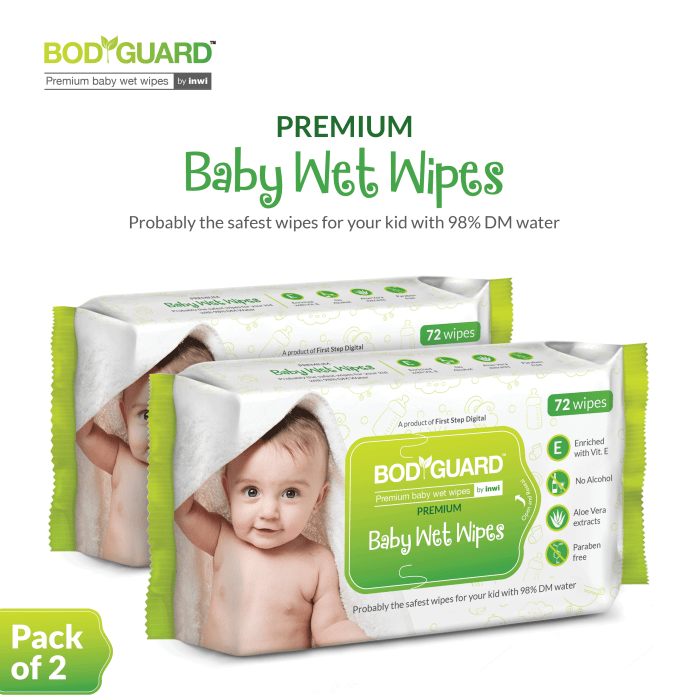 Bodyguard Premium Paraben Free Baby Wet Wipes with Aloe Vera Pack of 3